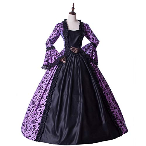 Medieval Renaissance Fairytale Vampire Brocade Dress Masquerade Gown Theater Cosplay Halloween Costume (L, Purple and Black)