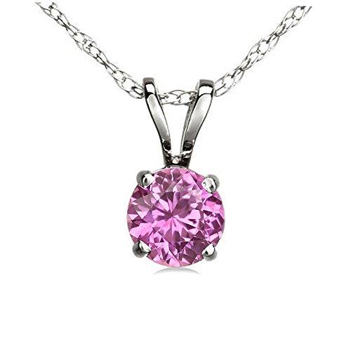 0.50 Carat (ctw) 14K White Gold Round Pink Sapphire Ladies Solitaire Pendant 1/2 CT