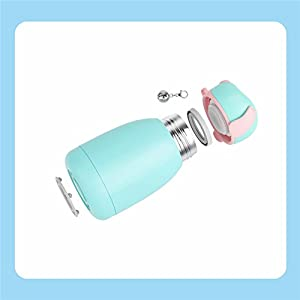 Vacuum Insulated Travel Water Bottle | Leak-proof Double Walled Stainless Steel Dog Shape Portable Water Bottle | No Sweating, Keeps Your Drink Hot & Cold | 10 Oz + (Gift Bottle Brush) Cyan