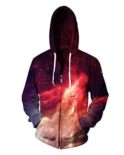 (Sankill Unisex 3D Galaxy Zipper Hoodie Sweatshirt Fleece Pullover Hooded Shirts Pocket)