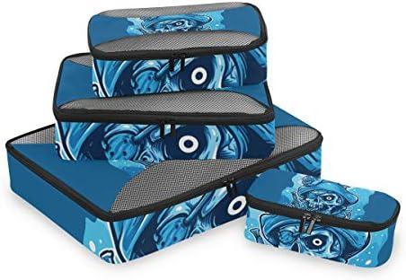ブルーアートパイレーツスカルフィッシュ荷物パッキングキューブオーガナイザートイレタリーランドリーストレージバッグポーチパックキューブ4さまざまなサイズセットトラベルキッズレディース