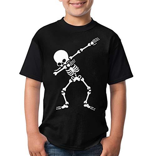 Gxcvsddgtrhgdq Kids Lightning Dabbing Skeleton Halloween Short Sleeve T Shirt for Boys Girls Black M -