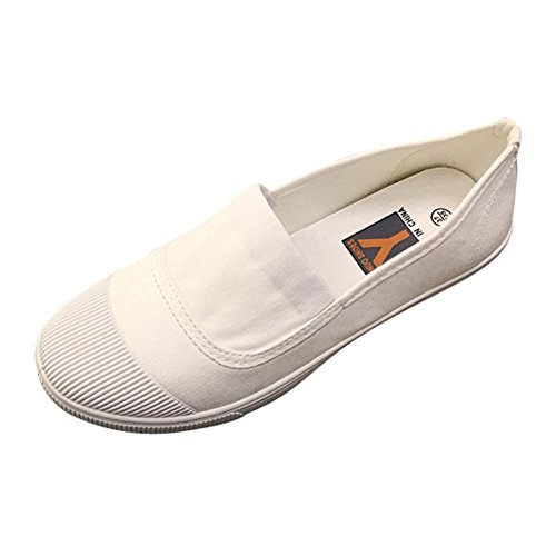 Womens Canvas Slip-on Casual Flats Breathable Cap-toe Fashion Sneakers White-1020 AgAibl