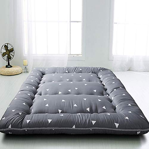 Grey Triangle Japanese Floor Futon Mattress Tatami Floor Mat Portable Camping Mattress Kids Sleeping Pad Foldable Roll Up Floor Lounger Pillow Bed Twin Size With Mattress Protector Cover
