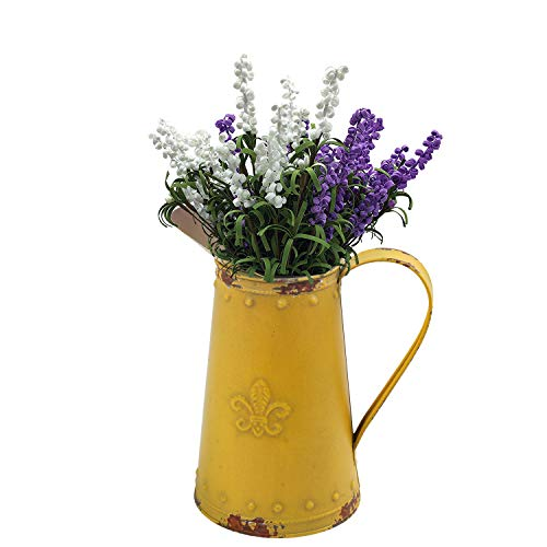 Shingone French Retro Style Vase Shabby Chic Metal Jug Pitcher Flower Vase Primitive Jug Vase for Home Decor, Yellow