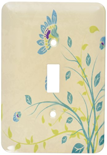 3dRose LLC lsp_119102_1 Lime Green Blue Turquoise and Purple Art Nouveau Style Flowers On Grunge Floral Decorative Nature Single Toggle Switch