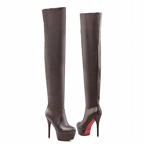 Carolbar Women's Sold Color Fashion High Heel Stiletto Platform Long Boots Brown D8BNUJzXai