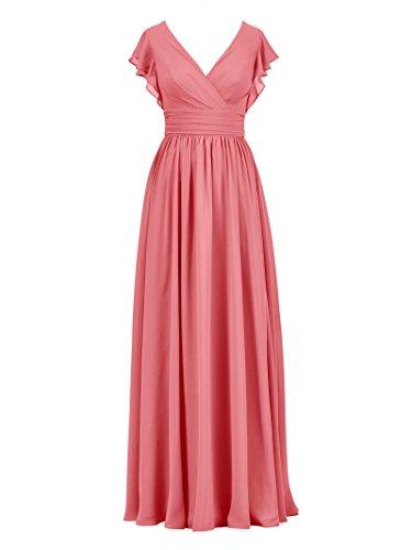 Pink Maxi Coral Evening Party Ball Long V Chiffon Gown Dress Neck Bridesmaid Alicepub Dress 7OZ1PwTqx