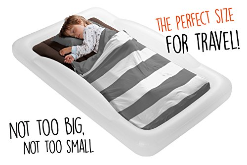 The Shrunks Toddler Travel Bed Portable Inflatable Air Mattress Bed for Toddlers for Travel or Home Use, White, Toddler Size 60 by 37 inches