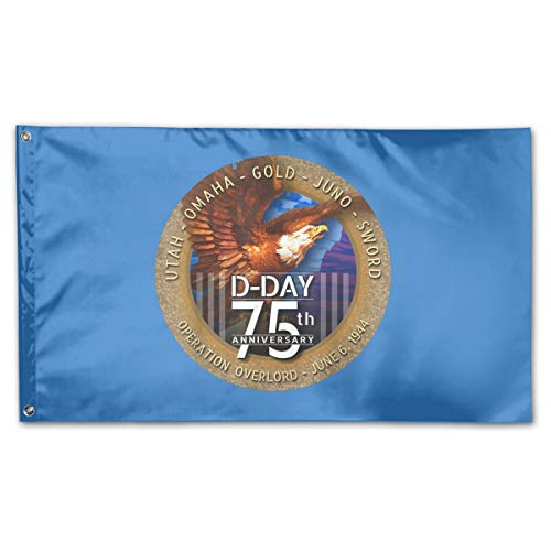 JIFLAGFOR 3x5 Foot WWII D-Day 75th Anniversary Bald Eagle US Flag -