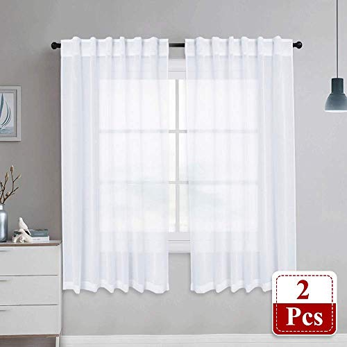 NICETOWN Sheer Curtains Linen Textured - Country Style Home Decor Bedroom Window Privacy Translucent Semi Voile Sheer Drapes for Kids Room, 55 x 63 Inch, ()