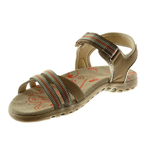 Plano Tobillo Cm Beige Bicolores Mujer Zapatillas Angkorly correa Correa Tacón De Moda 2 Sandalias 5 Suela Multi 7xqXaXwZf