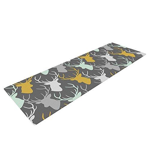 Kess InHouse Pellerina Design Scattered Deer Yoga Exercise Mat, Gray, 72 x 24-Inch