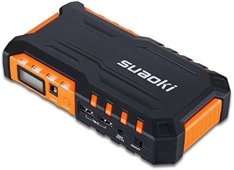 SUAOKI G7 - Jump Starter Batería Arrancador Emergencia de Coche (600A, 18000mAh, Batería Externa, LED Flashlight, Multifuncional) Naranja