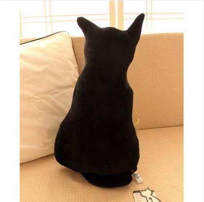 Kenmont Funny Cat Shaped Cushion Stuffed Animal Pillow Pet Sofa Chair Plush Throw Pillows Soft Plush Toys Dolls for Home Decoration, Kids Gifts, 45cm (Black) -