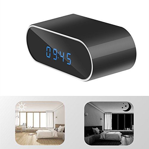 2M Pixel HD 1080P WiFi Smart Mirror Clock with Night Vision Motion Detection