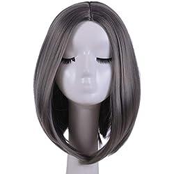 Women Short Bob Full Wigs Heat Resistant Kinky Straight Custom Cosplay Party Wigs (Gray)