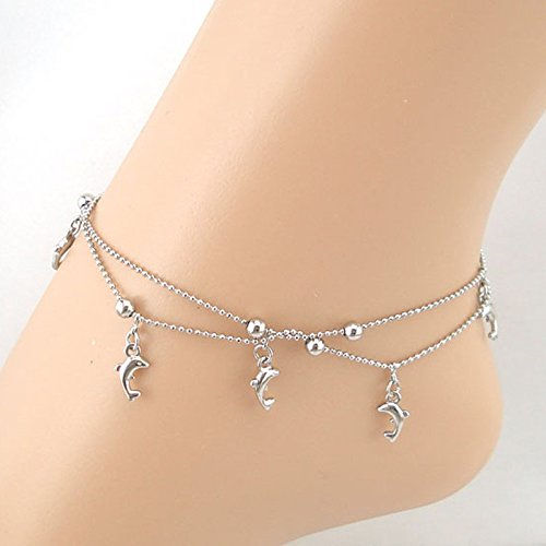 DZT1968 1pc Women Girl Dolphin Fish Pendant Chain Anklet Bracelet Sandal Beach Foot Jewelry