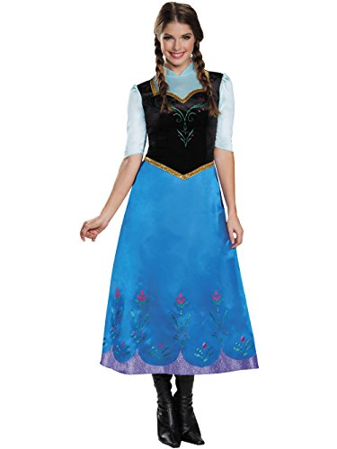Anna Princess Costumes (Disguise Women's Anna Traveling Deluxe Adult Costume, Multi, Small)