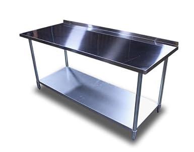 new commercial restaurant stainless steel prep work table 2 backsplash - Stainless Steel Work Table With Backsplash
