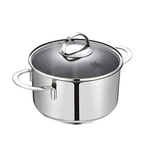 Mr Rudolf 3 Quart 18/10 Stainless Steel 2 Handle Stock Pot with Glass Lid Dishwasher Safe PFOA Free Stockpots Casserole 20cm 3 Liter Dutch Oven ()