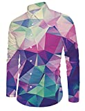 RAISEVERN Men's Button Down Dress Shirt Crystal Rainbow Printed Slim Fit Long Sleeve Shirts XXL