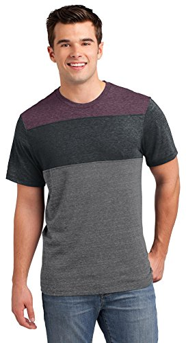 District Young Mens Tri-Blend Pieced Crewneck T-Shirt, Maroon Heather/ Charcoal Heather/ Grey Heather, -
