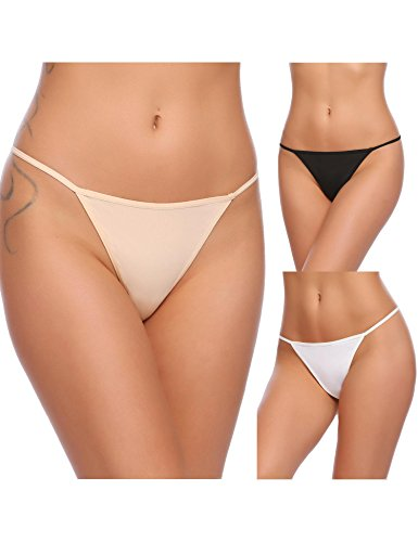Adoeve Plus Size G-String for Lady Cool Low Waist Thong for Summer 3 Pieces Underwear (Nude, XX-Large)