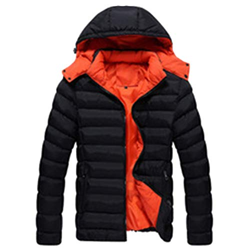 Jacket Casual Winter Size Detachable Outerwear Men's Warm Down Color Hooded Puffer Padded Coat Black Solid Plus OzTFxwdq