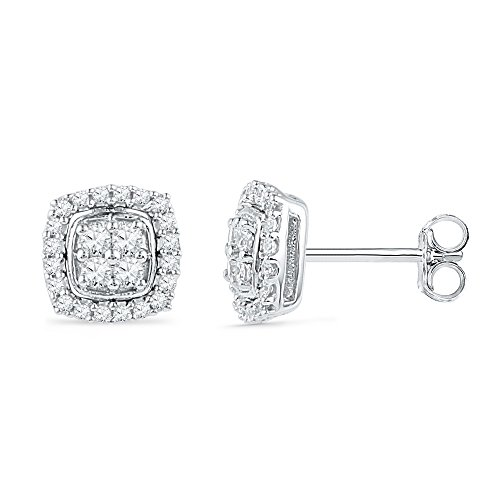 Solid 10k White Gold Round White Diamond Square Shaped Halo Channel Set Stud Earrings (1/4 cttw)