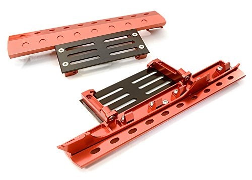 Integy RC Model Hop-ups C26892RED Billet Machined Realistic Deluxe Side Step for SCX-10, Dingo, Honcho & (Deluxe Billet)