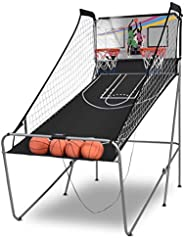 Giantex Foldable Basketball Arcade Game, 8 Game Options, Electronic Double Shot 2 Player w/ 4 Balls and LED Sc