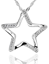 """Sterling Silver Round Cubic Zirconia Cut-Out Star Pendant Necklace 18"""" Chain"""