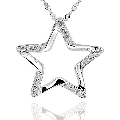 GemsChest Sterling Silver Round Cubic Zirconia Cut-Out Star Pendant Necklace 18 Chain