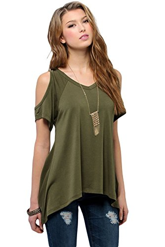 O&W Army Green V Neck Cold Shoulder Swing Top