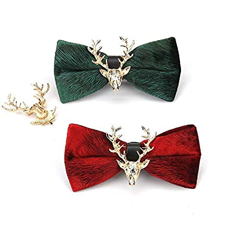 Wnakeli Men Bow Tie Brooch Elk Neck Tie Adjustable Bowknot College Style Collar Brooch for Graduation Birthday Valentines Day Wedding Anniversaries Party 1Pcsina