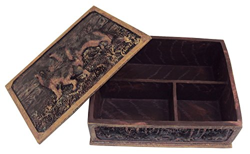 Memory Box By Al Agnew, The Perfect Men's Idea Box Keepsake Box or Valet Box. Al Agnew - Wolves in the Winter Woods - Beautiful Artwork! (Wood Wolf compare prices)