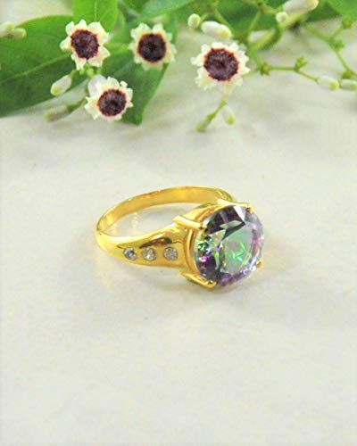 SIVALYA Designer Mystic Topaz Gemstone Ring for women in 925 Sterling Silver with 18K Gold Plated and Accent Crystals - Size - Crystal Topaz Multi