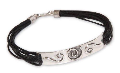 "UPC 808773389625, NOVICA .925 Sterling Silver Leather Wristband Bracelet, 7.5"", 'Enigma'"