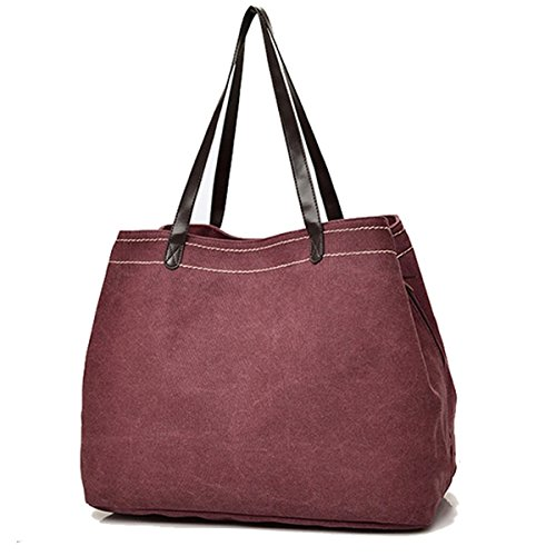 Casual Bag Simple Canvas Handbag Shoulder Bag Large Capacity Multi Compartment Canvas Bag Wine Red inches