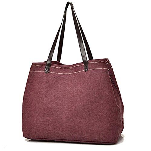 Casual Bag Simple Canvas Handbag Shoulder Bag Large Capacity Multi Compartment Canvas Bag Wine Red inches Pocket Large Handbag