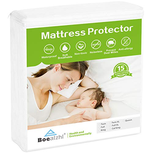 Boealzhl Waterproof Mattress Protector Twin Size - Soft Breathable Cotton Mattress Cover - Noiseless and Hypoallergenic - Vinyl Free