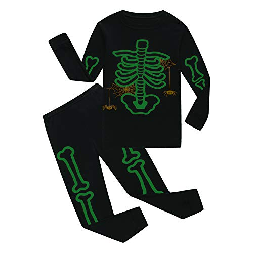 Family Feeling Halloween Skeleton Little Boys Girls Pajamas Sets 100% Cotton Clothes Costumes Toddler Kids Pjs Size 5 by Family Feeling (Image #2)