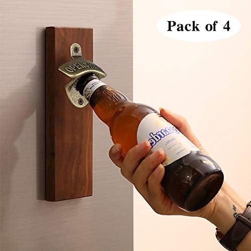 Vintage Bronze Wall Opener Mounted Wine Beer Bottle Accessories Bar Cap K6X4
