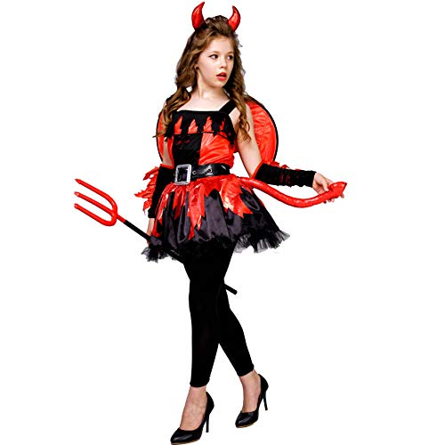 PGOND Girls Devil Halloween Fancy Dress Costume (10-12) -