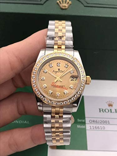 AGRGY Klassische Neue Edelstahl Saphir Uhr Damen Dame Automatische Mechanische Diamant Lünette Silber Gelbgold Datejust 31mm
