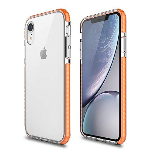 Maxace Case Compatible with iPhone XR Case, Ultra Thin Transparent Crystal Clear PC Back Cover Rubber TPU Bumper, Shockproof Anti-Scratch Case Compatible with Apple iPhone XR 6.1 inch - Orange