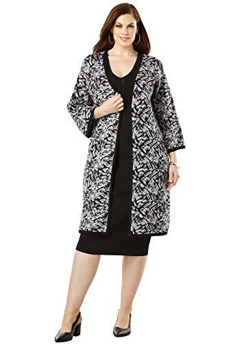 - Roamans Women's Plus Size Sheath Dress with Sweater Jacket - Black Abstract Brushstroke, 26/28
