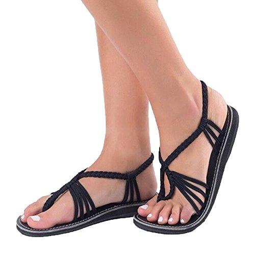De D'été Tongs Sabots Flops Et Talons Nylon Slippers Ville Chaussures Sandales Compensées Mules Chaussons Plats Plage Flip Reaso Corde Noir Femmes Été Tong Mode BqYwI