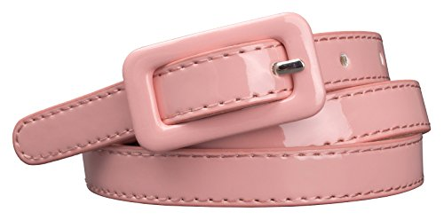 "Womens Covered Buckle Patent Leatherette Skinny Belt (M(30.5""-34.5""), Pink)"